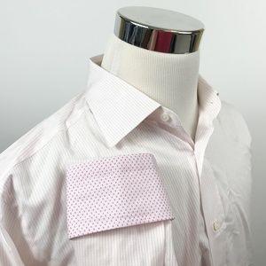 Ermenegildo Zegna Mens 16 35/36 Pink White Striped